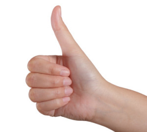 Woman hands thumbs up